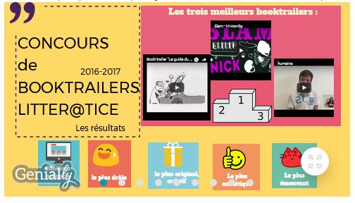 Littér@tice Concours de Booktrailers 2016-2017 : les résultats !