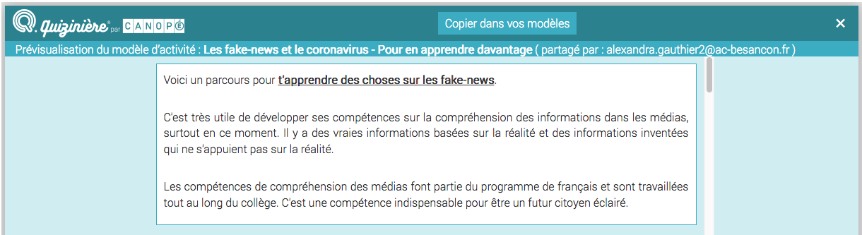 Fake-news : parcours 1.